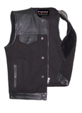 Patriot Motorcycle Club Vest Leather Over Military Grade Canvas Dual Concealed Carry