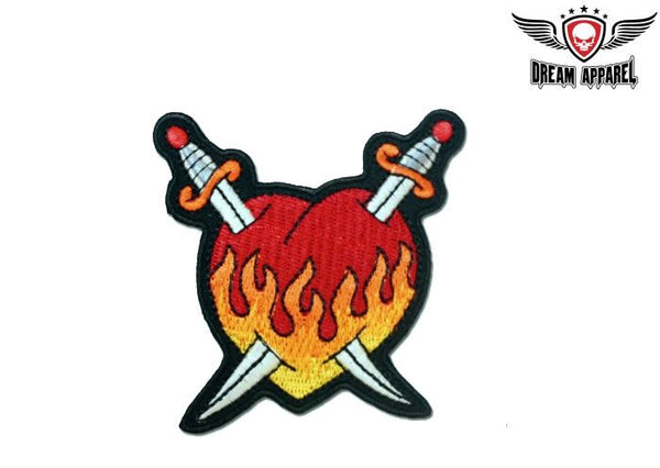Flaming Heart With Two Swords Crossed