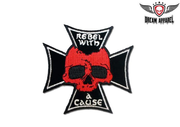Biker Skull With Chopper Cross Rebel With A Cause Motorcycle Patch