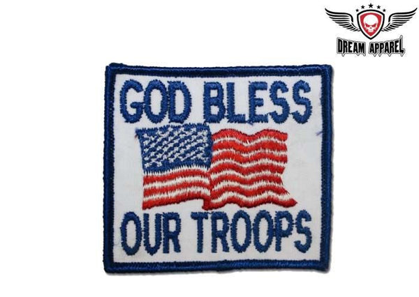 God Bless Our Troops With USA Flag Motorcycle Patch