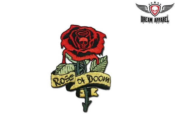 Rose of Doom With Skull Biker Patch