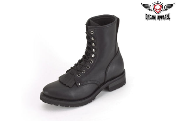 Mens Wide Biker Boots With Laces & Tassle In Front
