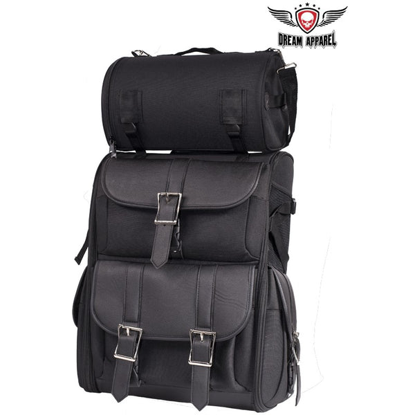 Medium Size Motorcycle Sissy Bar Bag With Dual Side Door Access