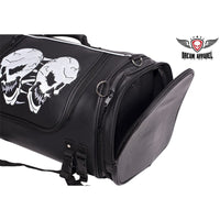 best-motorcyle-vest - Large Motorcycle Sissy Bar Bag Trunk With Reflective Skulls and rain cover - Club Vest Biker Motorcycle Apparel & Accessories - Motorcycle Bags