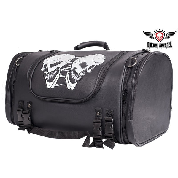 Medium Motorcycle Sissy Bar Bag Trunk With Reflective Skulls and rain cover