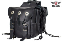 Genuine Black Leather Saddlebag with Conchos