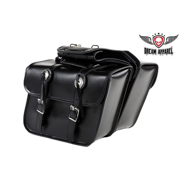 best-motorcyle-vest - Medium Motorcycle Saddlebag With Concho - Club Vest Biker Motorcycle Apparel & Accessories - Motorcycle bags