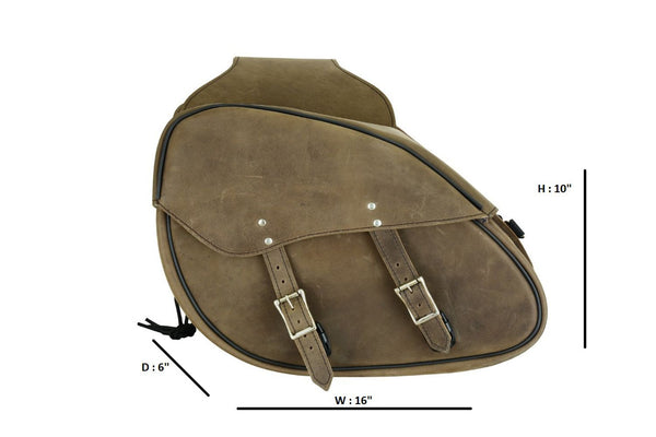 Genuine Premium Naked Brown Leather Concealed Carry Saddlebag