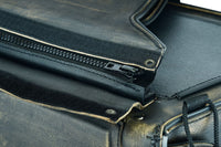 Distressed Leather Motorcycle Saddlebag No-Studs