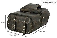 Genuine Distressed Brown Naked Cowhide Leather Concealed Carry Saddlebag