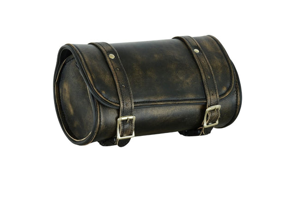 Distress Brown Naked Leather Motorcycle Tool Bag 10-inches