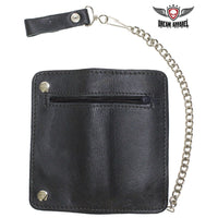 best-motorcyle-vest - Black Leather Chain Wallet with Zippered Outside Pocket - Dream Apparel® - Wallets Chains Belt-loop Purses Bags and Hip-bags