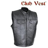 best-motorcyle-vest - Split Cowhide Leather Motorcycle  Defender Vest Outside Access CCW Club Vest® - Club Vest® - Mens Best Motorcycle Vests