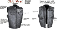 Club Vest® Defender Dual Outside Access CCW Side Rocker MC Vest in Naked Cowhide