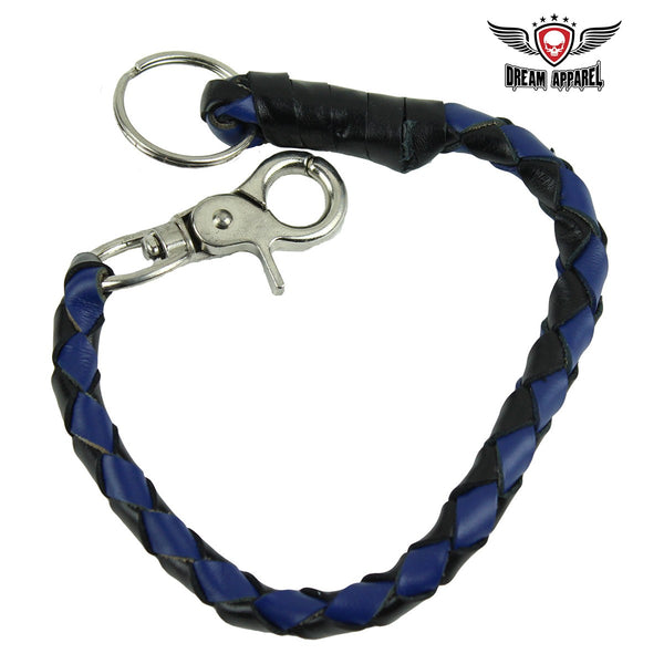 "best-motorcyle-vest - 14"" Blue and Black Get Back Whip Key Chain - Club Vest Biker Motorcycle Apparel & Accessories - misc"