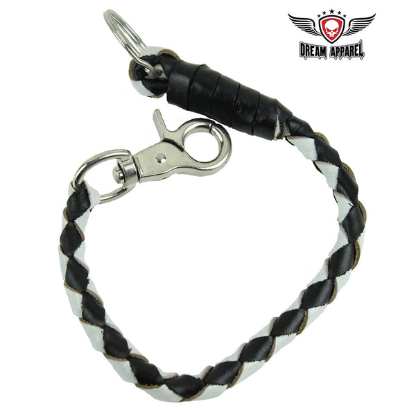 "best-motorcyle-vest - 14"" White and Black Get Back Whip Key Chain - Club Vest Biker Motorcycle Apparel & Accessories - misc"