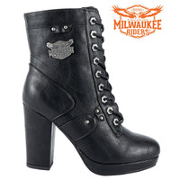 best-motorcyle-vest - Womens Leather Zippered Chunky Heel Boots By Milwaukee Riders® - Milwaukee Riders® - Motorcycle Boots