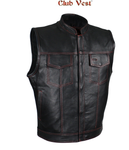 Club Vest® Men's Black Naked Cowhide Leather Motorcycle Vest W/ Red Stitching