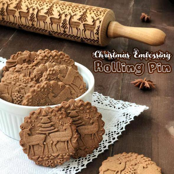 Sale - Christmas Embossing Rolling Pin