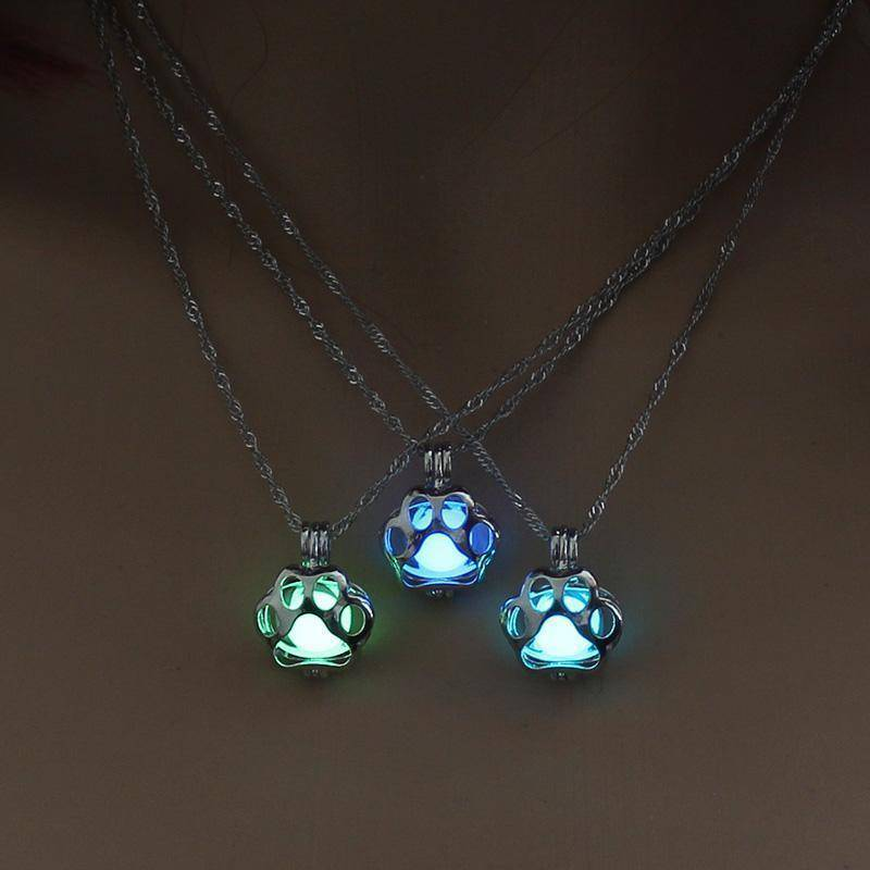 Sale - Glow In The Dark Paw Print Necklace