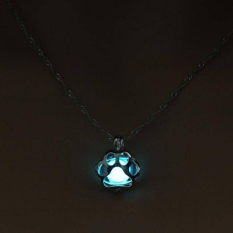Image of Sale - Glow In The Dark Paw Print Necklace