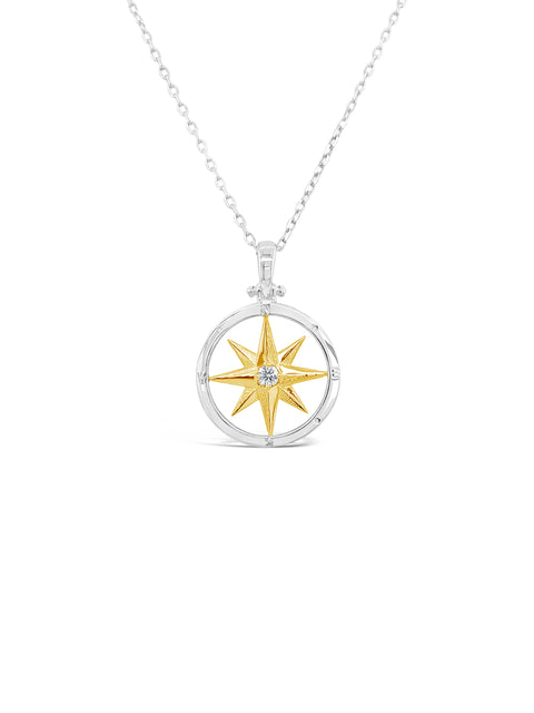 SS/14K Yellow Gold Compass Rose Diamond Pendant