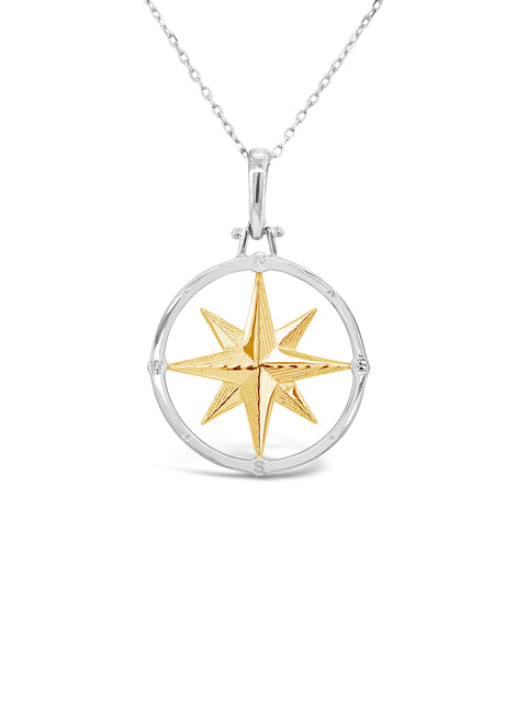 SS/14K Yellow Gold Compass Rose Pendant