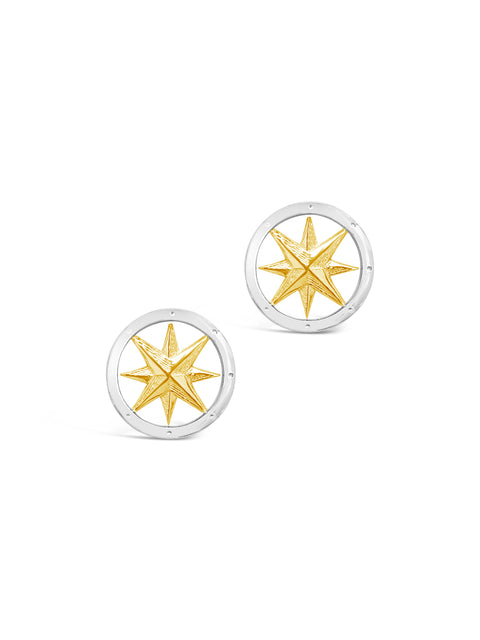 SS/14K Yellow Gold Compass Rose Stud Earrings
