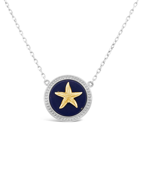 SS/14K Yellow Gold Starfish / Lapis Pendant