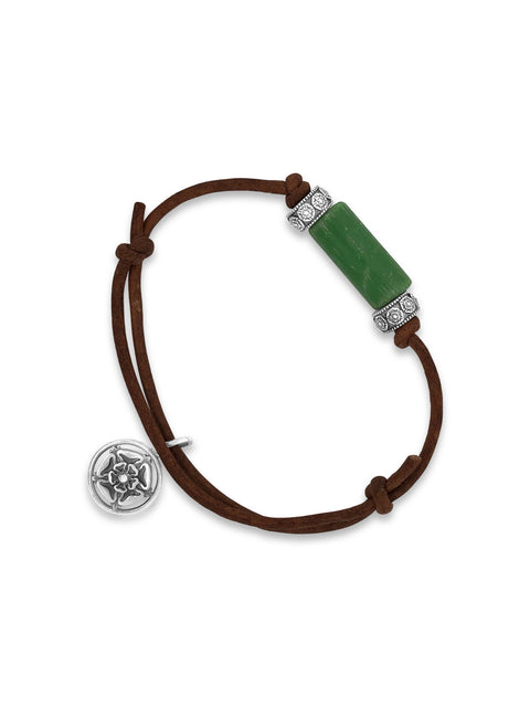 Green Venetian Trade Bead Bracelet / Sterling Silver & 2mm Brown Leather