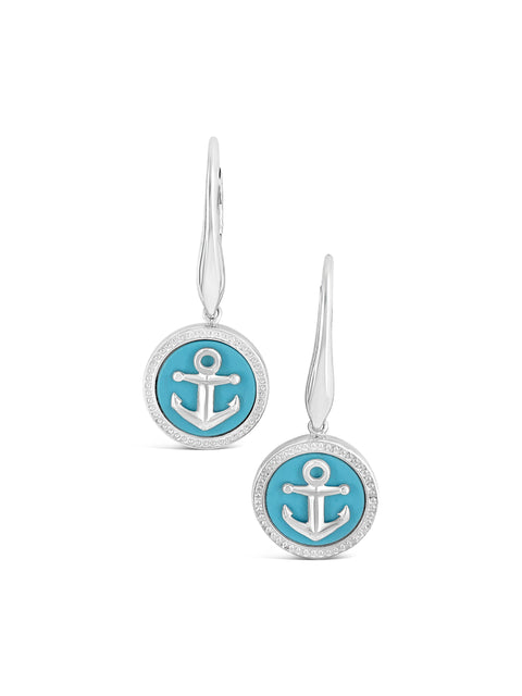 Sterling Silver Anchor / Turquoise Drop Earrings