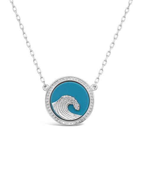 Sterling Silver Wave / Turquoise Pendant