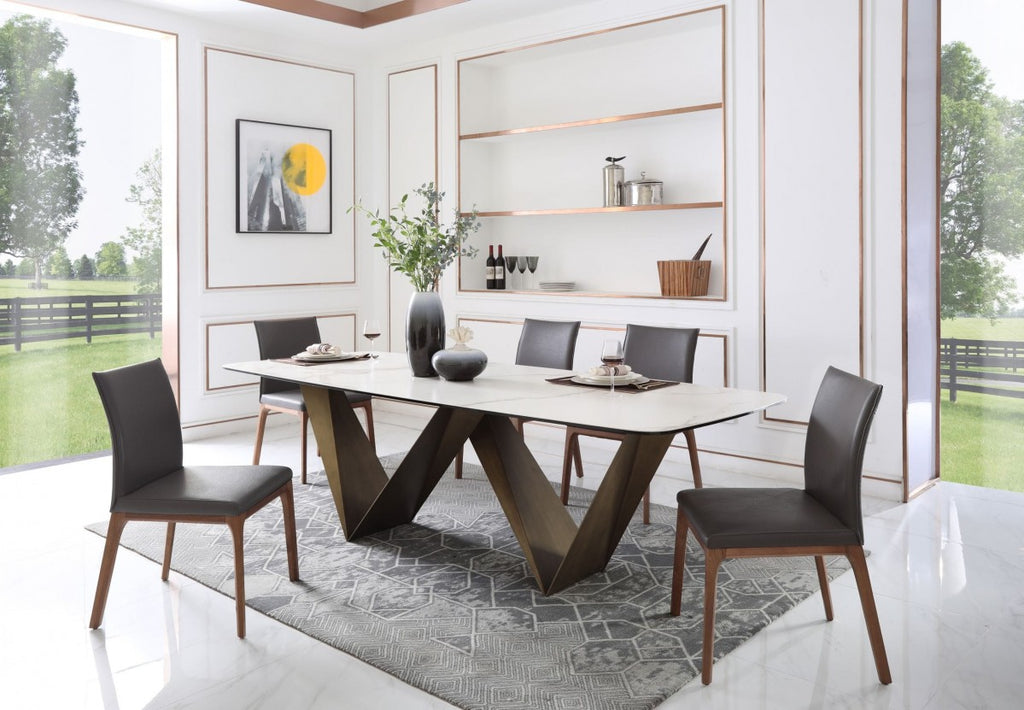 Mel Modern White Ceramic Dining Table