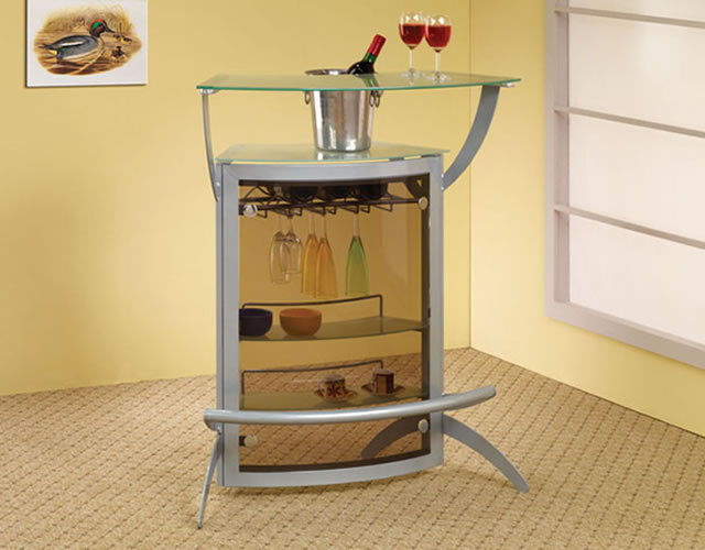 Contemporary Silver Metal Bar Unit