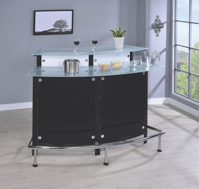 Modern Black Free Standing Corner Bar Unit