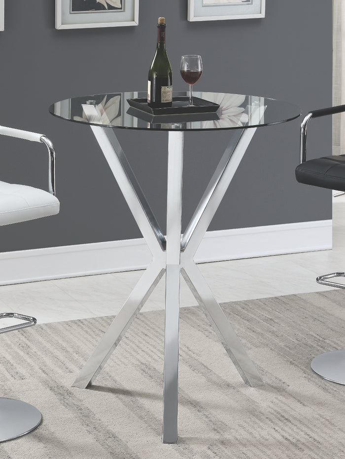 Contemporary Round Glass Top Bar Table
