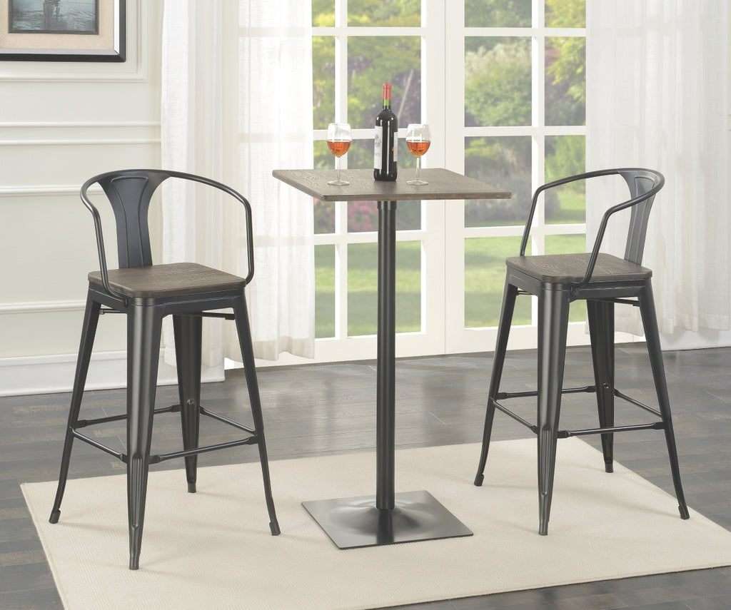Dark Elm Bar Table with Matching Barstools
