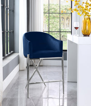 Xara Velvet Stool with Chrome Legs in 3 Color Options