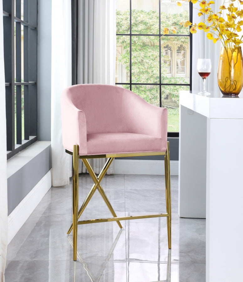 Xara Velvet Stool with Gold Legs in 6 Color Options