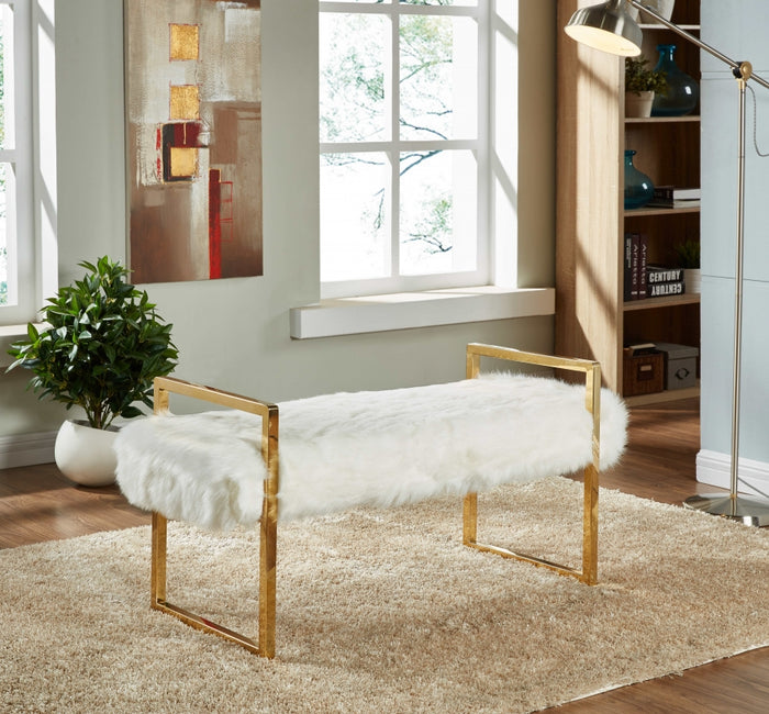 Cole White Fur Bench with Gold Legs