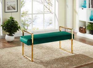 Olly Velvet Bench with Gold Legs in Green, Pink or Navy