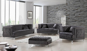 Luke Tufted Velvet Living Room Collection in Black, Navy, Grey or Cream