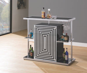 Contemporary Black Glass Top Bar Unit