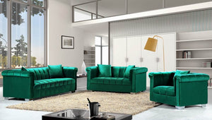 Kay Channel Tufted with Rolled Arms Velvet Living Room Collection in 4 Color Options