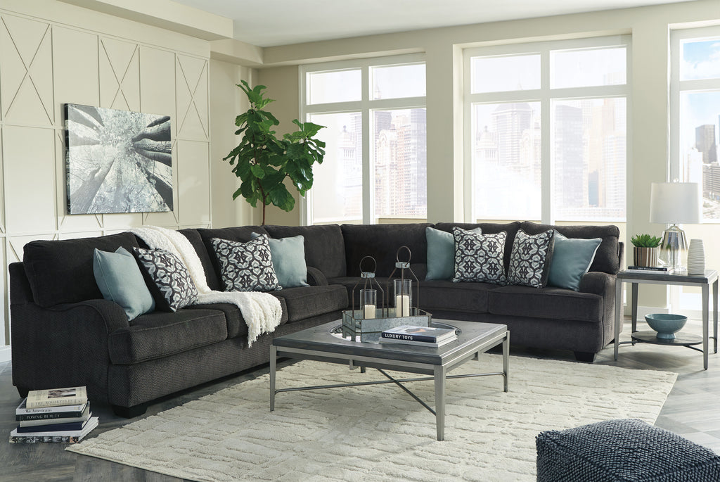 Clarendon Charcoal Fabric Sectional with Optional Queen Sleeper
