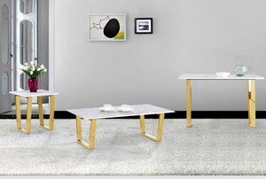 Cam Marble Occasional Tables with Chrome or Gold Legs