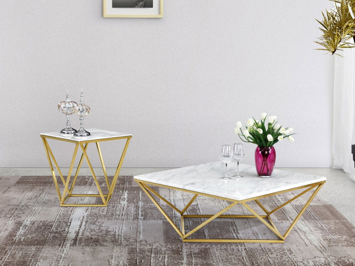 Skye Marble Occasional Tables with Chrome or Gold Stainless Steel Legs