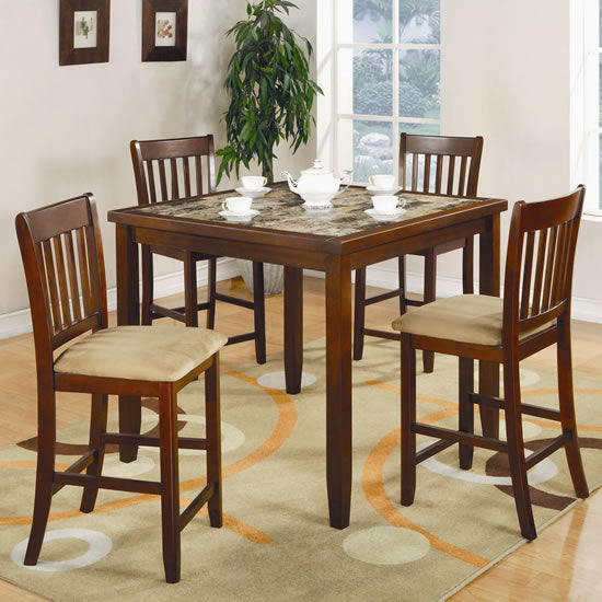 Normandie 5 Piece Counter Height Dining Set with Marble Like Table Top