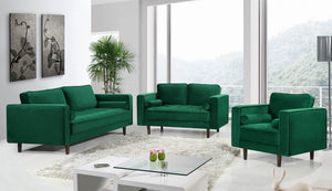 Emma Tufted Velvet Living Room Collection with Track Arms in 4 Color Options
