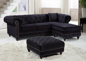 Serena Tufted Velvet Rolled Arms Reversible Sectional in 4 Color Options